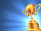 Trophy blue shiny background — Stock Photo