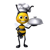 Bee chef with food plate — Stock Photo