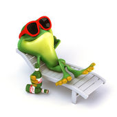Frog relax with beer — Foto Stock