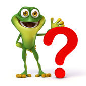 Frog with question mark — Stock Photo