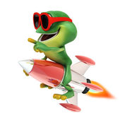 Frog riding rocket — Stockfoto