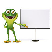 Frog  with white board — Stockfoto