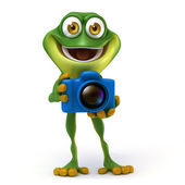 Frog with camera — Stock Photo
