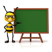 Bee hold and green board — Foto de Stock
