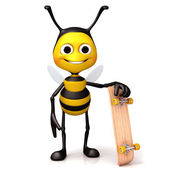 Bee hold a skate board — Foto de Stock