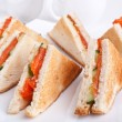 Six salmon club sandwiches — Stock Photo