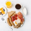 Full English Breakfast with Poached Eggs — Stock Photo #41981753