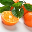 Four tangerines with leaves — Stock Photo