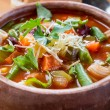 Minestrone Soup with Pasta, Beans and Vegetables — Stock Photo #41981999