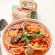 Minestrone Soup with Pasta, Beans and Vegetables — Stock Photo #41982595