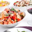 Постер, плакат: Three bowls of different salads Panzanella bread salad Jumpin