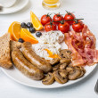 Full English Breakfast with Poached Eggs — Stock Photo