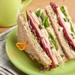 Club sandwiches with meat and vegetables — Stock Photo
