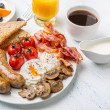 Full English Breakfast with Poached Eggs — Stock Photo #41985257