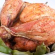 Roasted chicken with green beans — Stock Photo
