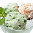 Three scoops of ice cream with mint leaves in a glass — Stock Photo #41985443