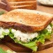 Egg salad sandwich on brown toasted bread and ingredients — Stock Photo #41986541