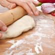 Kneading dough for pizza — Stock Photo #41986733