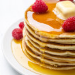 American Pancakes with Raspberries — Stock Photo #41986933