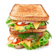 Meat, lettuce and cheese sandwich on toasted bread — Stock Photo