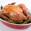 Stock Photo: Roasted chicken with green beans