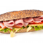 Постер, плакат: Baguette sandwich with lettuce