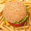 Tasty cheeseburger and  fries — Stock Photo #41988789