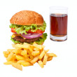 Hamburger, fries and cola — Stock Photo #41989485