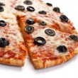 Stock Photo: Vegetaripizzwith black olives