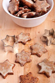 Homemade star-shaped christmas cookies with a star — Stock Photo