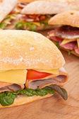 Ciabatta bread sandwiches — Stock Photo