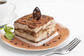 Portion of italian dessert tiramissu — Stock Photo