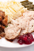 Turkey breast with garnish — Photo