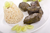 Grape leaves with rice — Stock Photo