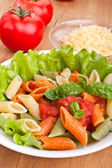 Colored penne pasta — Foto de Stock