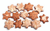 A group of star-shaped homemade christmas cookies — Stock Photo