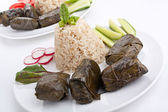 Stuffed grape leaves with rice and vegetables — Stok fotoğraf