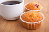 Muffins with coffee — Stock Photo