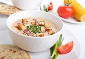 Corn cream soup puree — Stock Photo