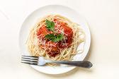 Spaghetti with Meatballs in Tomato Sauce — Stock Photo