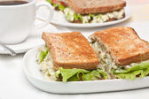 Egg salad sandwiches on toasted bread and a cup of coffee — Stock Photo