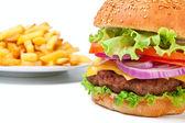 французский картофель и большой чизбургер — Стоковое фото