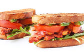 Bacon, lettuce and tomato BLT sandwiches — Stockfoto
