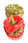 Two stuffed peppers on white background — Stock Photo