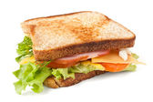 Meat, lettuce , cheese and egg salad big sandwich on toasted bre — Stock Photo