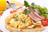 Brunch pancakes with scrambled eggs, ham and tomatoes — Stok fotoğraf