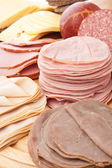 Big group of sliced meat — Stock Photo