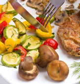 Rump steak with vegetables — Stock Photo