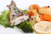 Sea Bream fish with vegetables  — Stock Photo