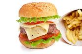 чизбургер и картофелем — Стоковое фото
